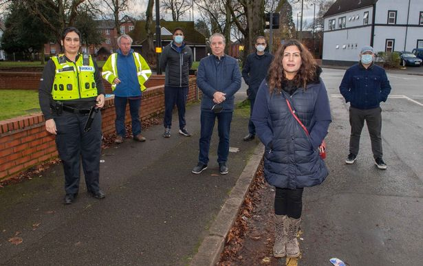 Photo of Preet Kaur Gill MP, Police and local residents by Saif Lodge. Credit: Birmingham Live