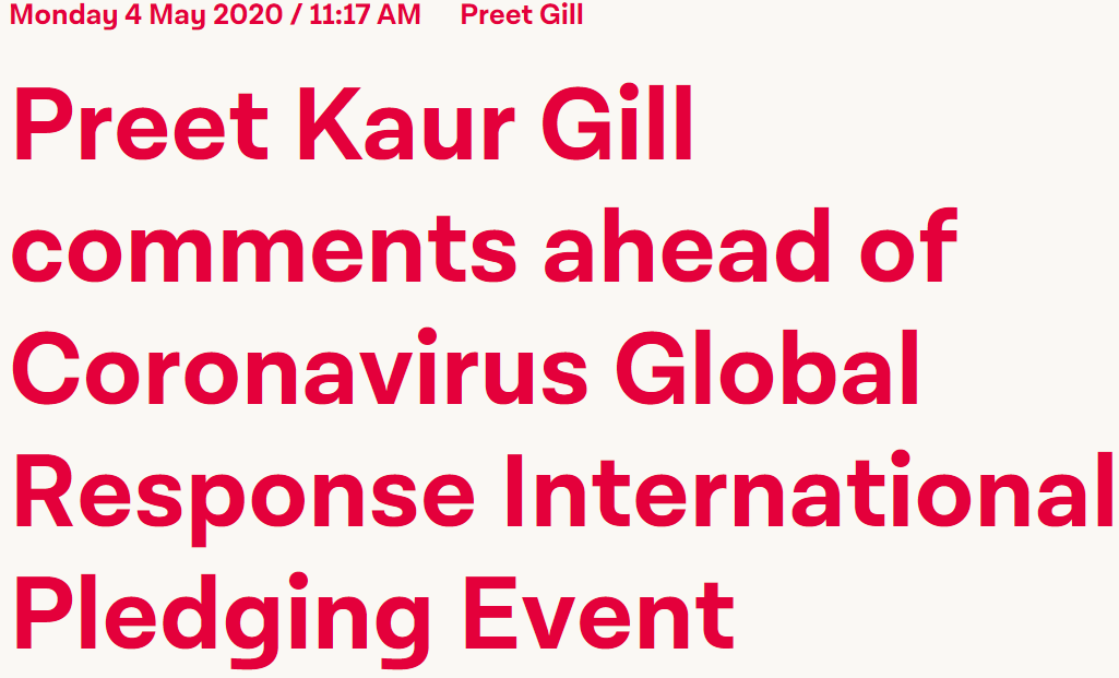 Preet Kaur Gill MP calls for global access to any Covid-19 vaccines, tests or other treatments.