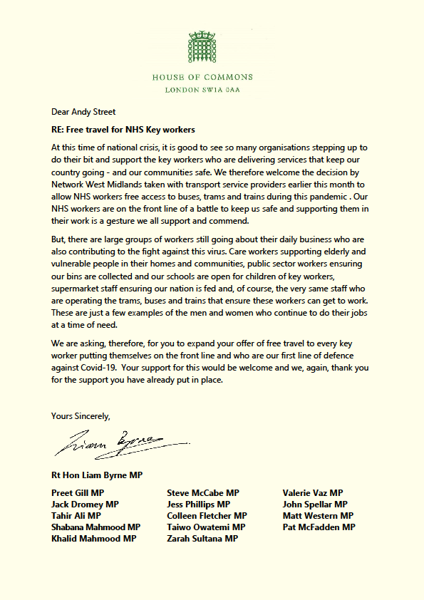 Preet calls on the West Midlands mayor to extend free public transport to all key workers in the region.