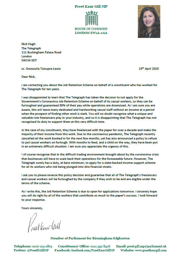 Preet Kaur Gill MP writes to employers on behalf of constituents about support available.