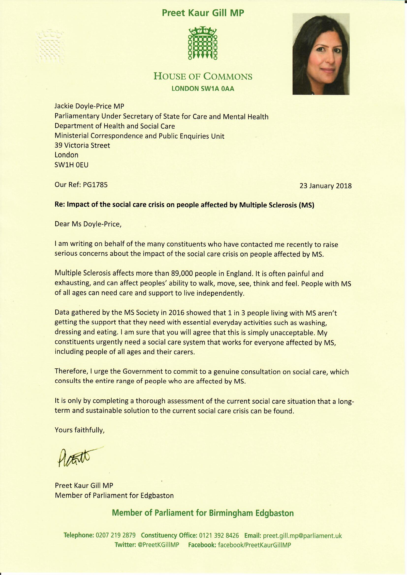 Letter to Jackie Doyle-Price MP re: impact of social care crisis on people with MS