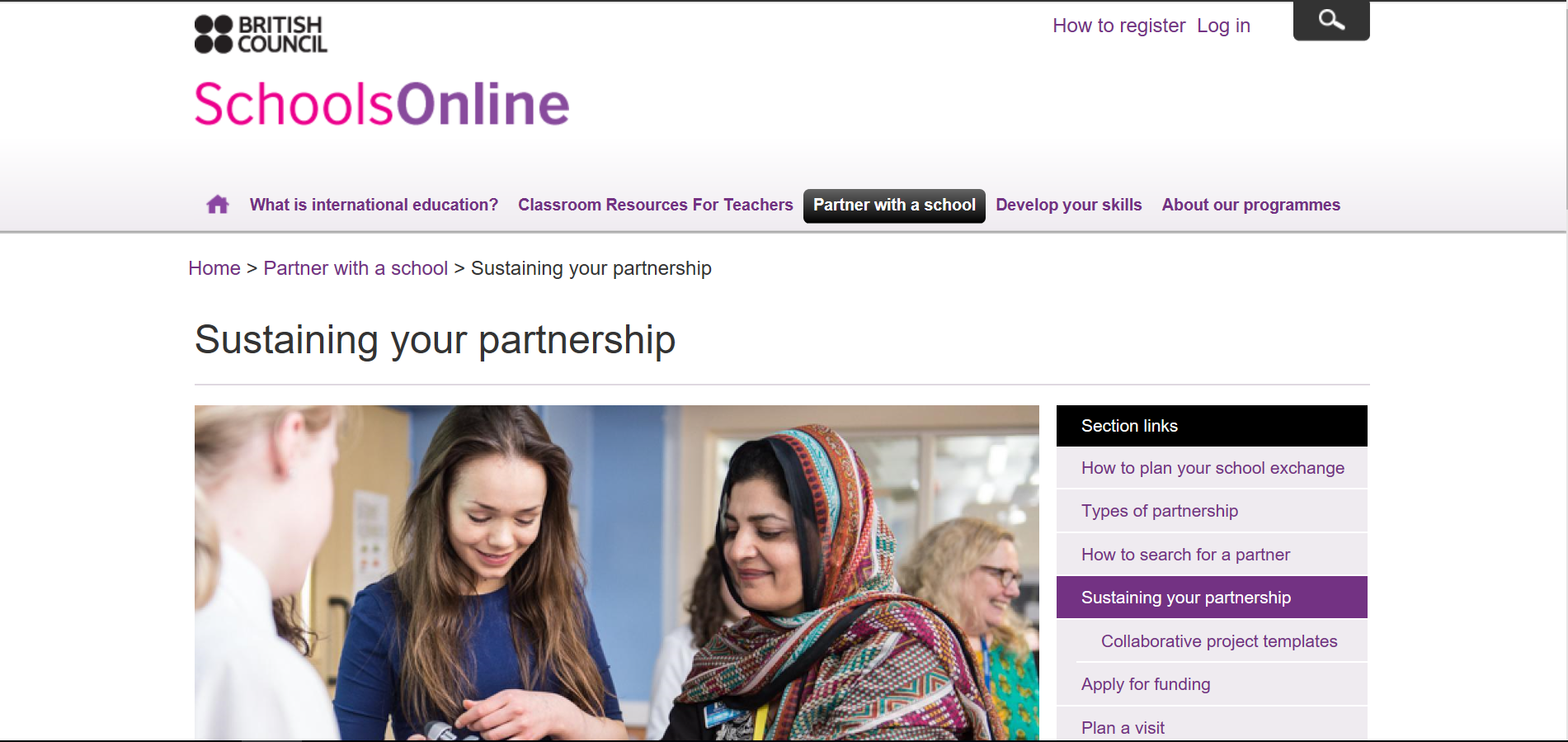 British Council School Partnership Scheme website.