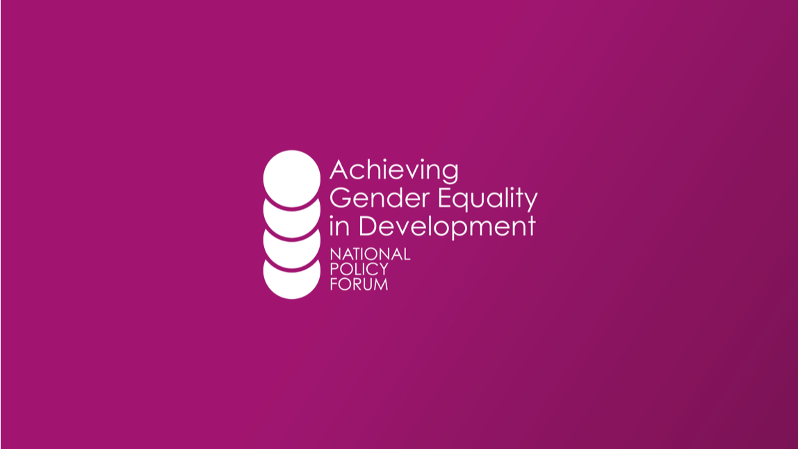 """Pink background with the title, """"Achieving Gender Equality in Development"""""""
