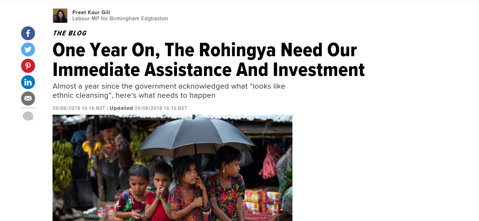 Preet writes on Rohingya crisis in HuffPost Blog | Preet