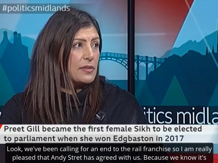 Preet calls for West Midlands Trains to lose its franchise on BBC Politics Midlands.