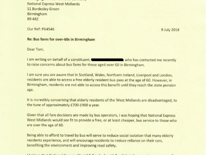 Preet Kaur Gill MP's letter to National Express West Midlands