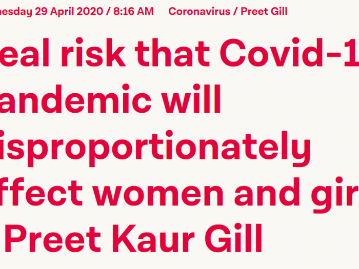 Preet calls for gender analysis to be central in DfID's Covid-19 work.