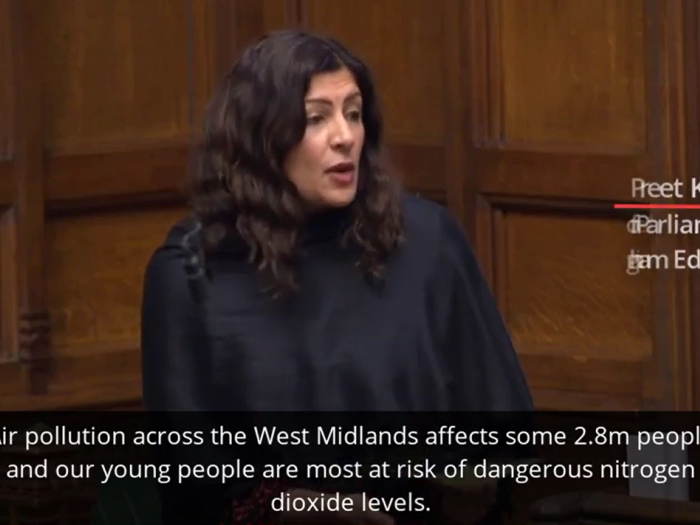 Preet Kaur Gill MP highlights air pollution problem in Birmingham in the second reading of the environment bill debate.