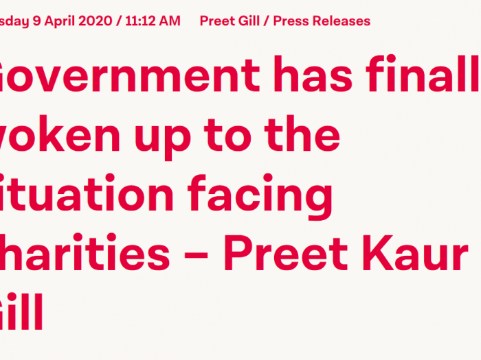 Preet responds to the government's charities funding announcement.