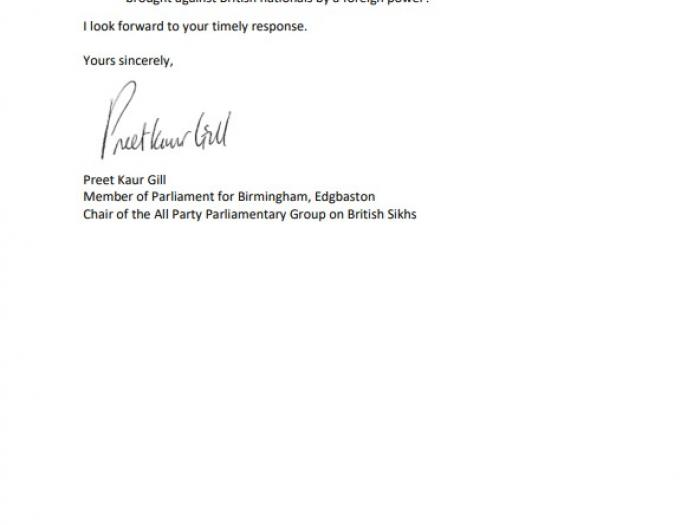 Second page of letter to Home Secretary