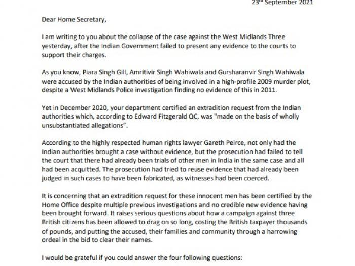 First page of letter to Home Secretary