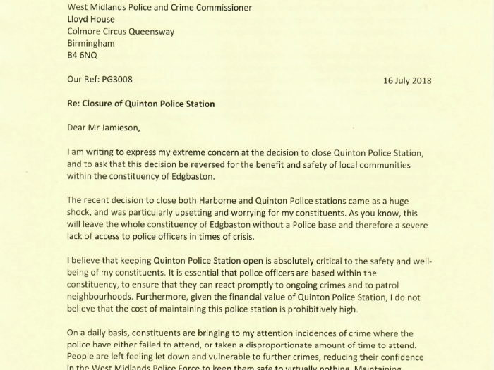 Preet Kaur Gill MP's letter to West Midlands Police and Crime Commissioner