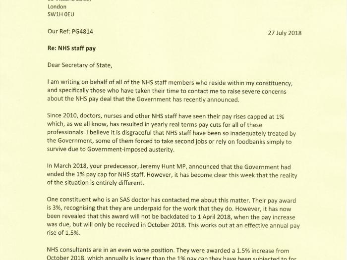 Preet Kaur Gill MP's letter to Secretary of State for Health and Social Care.