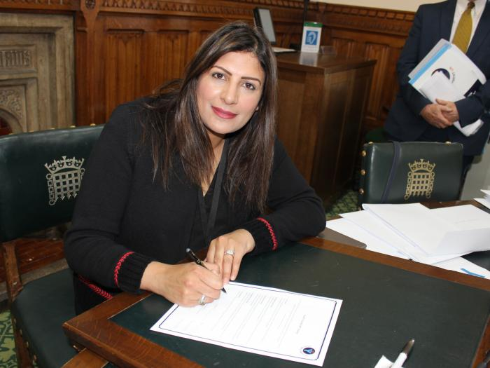 Preet Kaur Gill MP signs Youth Friendly MP Charter.