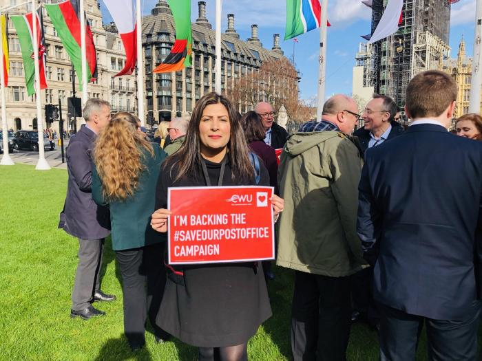 Preet Kaur Gill MP supporting CWU's campaign to 'Save our Post Office'.