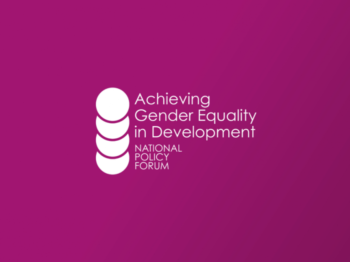 "Pink background with the title, ""Achieving Gender Equality in Development"""