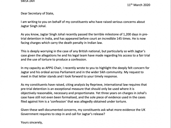 A copy of the letter sent to Dominic Raab MP