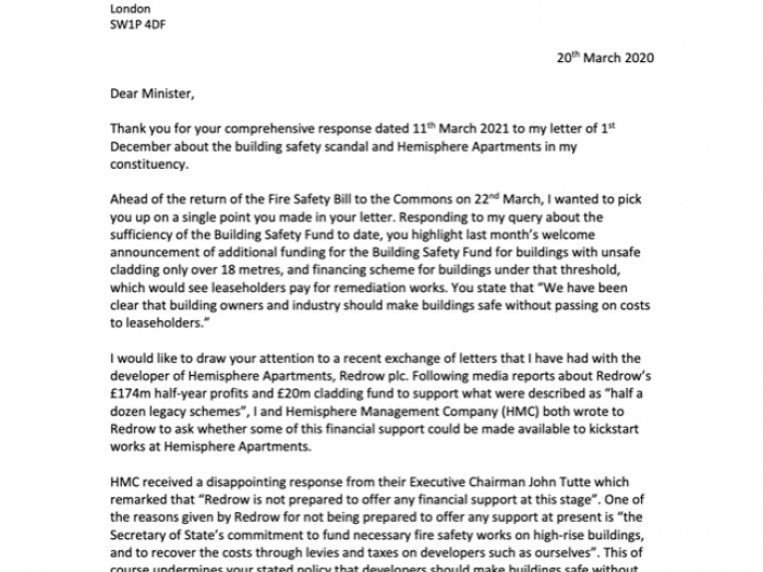First page of letter from Preet Kaur Gill on fire safety measures
