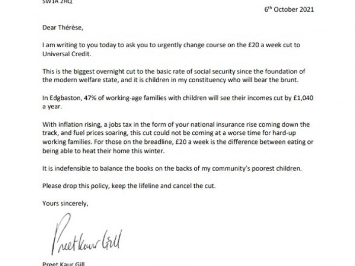 Letter to Secretary for Work and Pensions