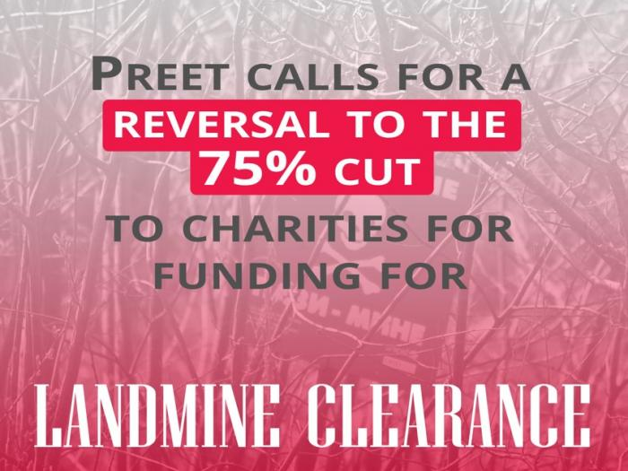 Image stating: Preet calls for a reversal to the 75% cut to charities for landmine clearance
