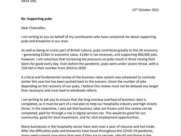 Page one of letter to chancellor