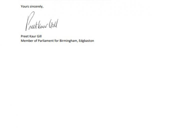 Page two of letter to chancellor