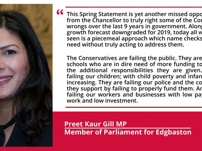 Preet Kaur Gill MP's response to the 2019 Spring Statement.