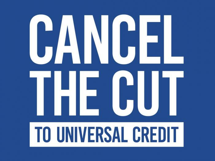 """Blue square with text reading """"Cancel the cut to universal credit"""""""