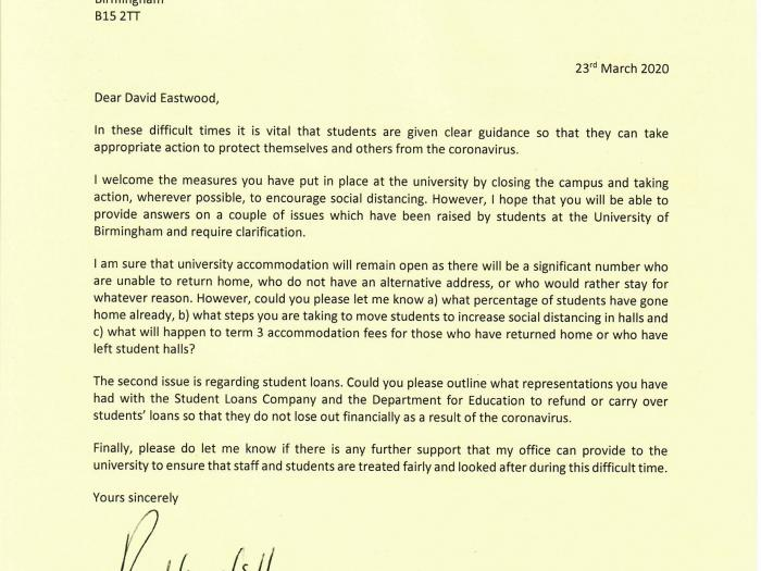 Preet writes to UoB's Vice-Chancellor on behalf of students with coronavirus concerns.