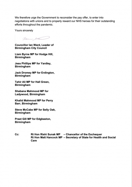 Second page of letter sent to Government